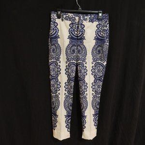 Zara Womens Blue and White Patterned Ankle Pants